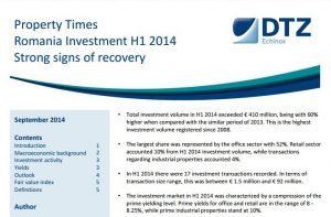 Property Times Romania Investment H1 2014 99 dtz echinox