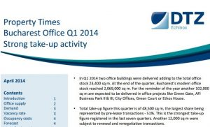 DTZ Property Times Bucharest Q1 2014 Office Market echinox 1