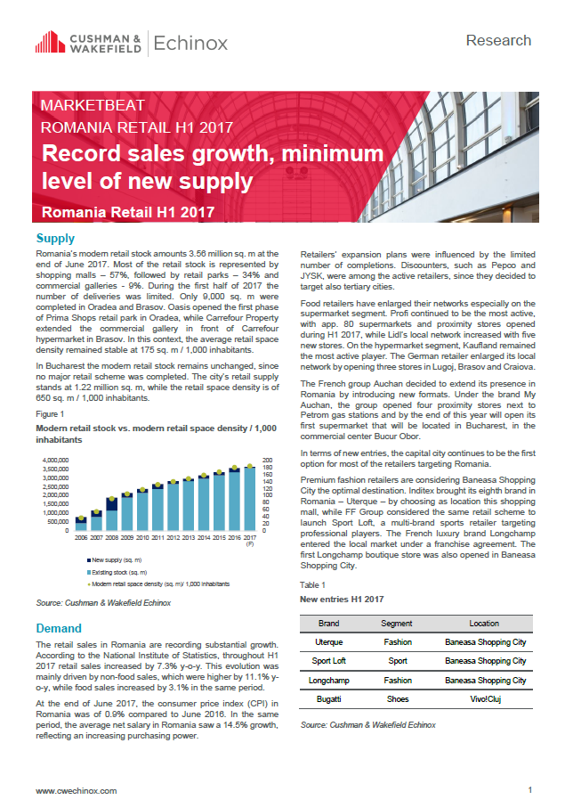 Bucharest Retail Marketbeat H1 2017